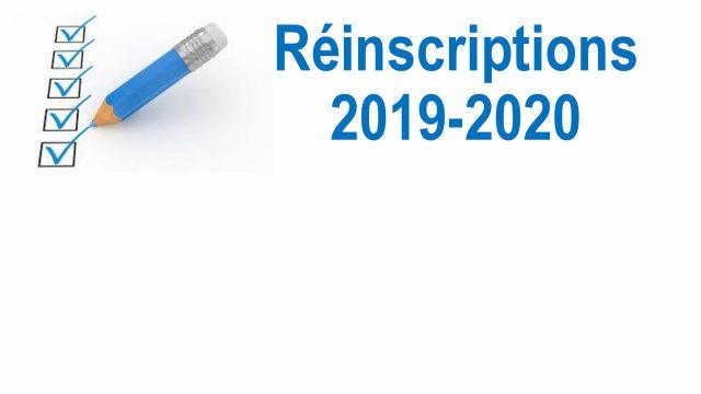 Réinscriptions 2019-2020