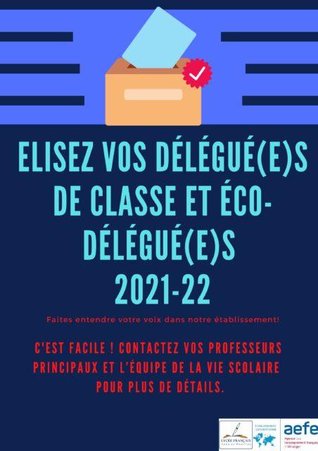 La démocratie à l'école : Elections des délégué(e)s de classe et éco-délégué(e)s 2021-22